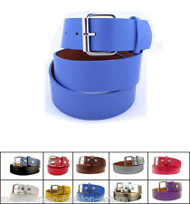 Snap-On Removable Silver Roller Buckle Solid Unisex Men Women Plain Leather Belt