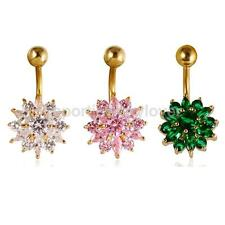 Sparkly Flower Zircon Navel Ring Belly Button Bar Body Jewelry White Pink Green