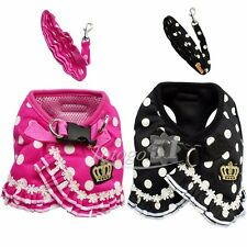 Small Pet Dog Puppy Chihuahua Mesh Points Crown Harness Marching Leash Lead Set