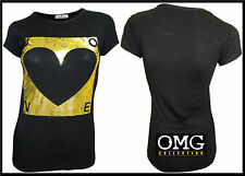 WOMENS NEW LADIES COMIC GOLD FOIL LOVE HEART PRINT T-SHIRT TOP SIZE / 8 10 12 14