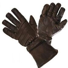 Mens / Womens Motorcycle Gauntlet Retro Brown Leather Insulated Gloves Sizes