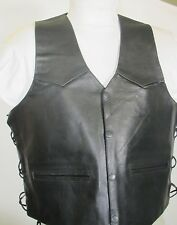 Mens MAS Black  Leather Motorcycle Biker Vest   Retail $89 Sizes Large, XL