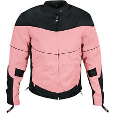 New Womens Black & Pink Armored Textile Motorcycle biker scooter Jacket $139.95