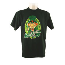 T-Shirt With Cead Mile Failte And Leprechaun Print, Bottle Green Colour