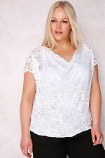 PAPRIKA White Floral Burn Out Top With Cowl Neck 16-26