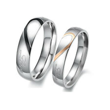 Stainless Steel Real Love Heart Couple Rings Necklace Engagement Wedding Band TO