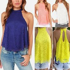 Women Backless Lace Floral Halter Neck Shirt Sleeveless Sexy Tops Blouse DAZ