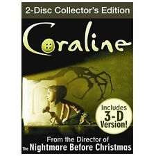 Coraline (DVD, 2009, 2-Disc Set,2d and 3d versions) *New, Sealed*