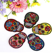 1pc Fashion DIY Embroidered Cloth Iron On Patch Sew Motif Applique skull NEW