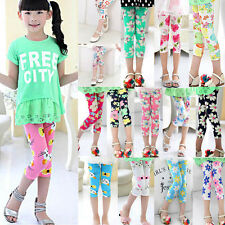Kids Baby Girl Stretch Skinny Floral Pants Trousers Cropped Leggings Print Tight