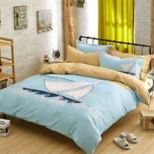 Kids Bedding Quilt Doona Duvet Cover Bed Sheet Pillowcase Set Queen ---Sail Boat