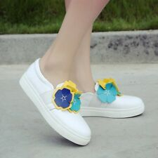 Casual Womens Flowers Fashion sneakers Flat Creepy Loafers White shoes slip on