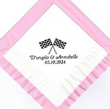 RACING FLAGS LOGO 50 Personalized printed cocktail beverage napkins
