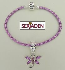 "Purple Dragonfly Charm Braided Serjaden Bracelet / Anklet Sizes 6 - 11 1/2"" #116"