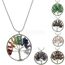 Handmade Wire Wrap Pendant Tree Of Life Jewelry Natural Gemstone Necklace