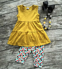 Girls Yellow Twirl Tunic Polka Dot Capri Boutique Outfit Necklace Bow Set 2T-8