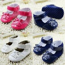 Sweet Baby Girl's Soft Sole Leather Solid Tassel Bow Crib Shoes Prewalker