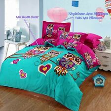 6pc. Cliab Owl Bedding Girls 100% Cotton Duvet Cover Set Full Queen Size