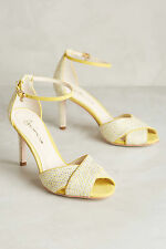 Anthropologie Guilhermina Lemon Heels 39/US8 & 40/US9, Canvas Peep-Toes Sandals