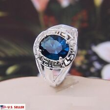 USA 925 Sterling Silver Plated Blue Sapphire Ring Blue Crystal Gemstone Ring