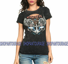SINFUL Penny S3242 New Women`s Short Sleeve Top By Affliction Black