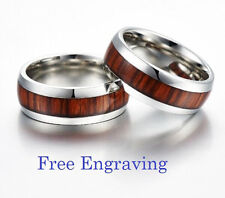 Custom Engraving Wood Inlay Tungsten Rings Bands Personalized Wedding Bands