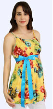 Yellow Floral  Maternity Blouse Womens Sleeveless Tank Top S M L XL