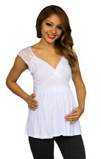 White Lace Maternity Sleeveless Top Casual Womens New Solid Formal NWT S M L XL