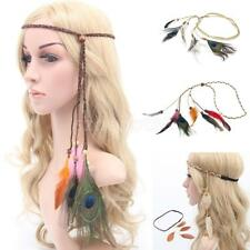Women Boho Style Festival Feather Headband Headpiece Hippie Weave Hairband