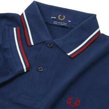 ON SALE NEW MEN'S T-SHIRT1FRED 1PERRY M12 POLO SHIRT Blue White Red Size M L XL
