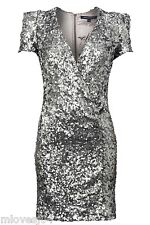 French Connection Samantha Silver Sequin Dress Brand New BNWT UK 6 8 10 12 14