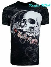 Konflic NWT Men's Raven with Rose Skull Face Graphic Designer MMA Muscle T-Shirt