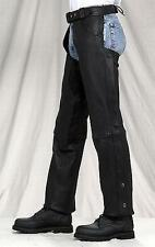 Comfort Black Buffalo Leather Motorcycle Insulated Chaps Zip out lining  $149.99