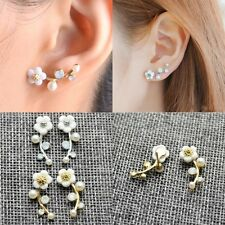 1 Pair Women Elegant Silver Plated Pearl Dangle Ear Stud Earring Jewelry Fashion