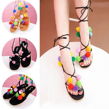 Girls Flat Gladiator Lace Up Ball Flower Ankle Mid Calf Strappy Flip Sandal Shoe