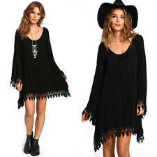 Women Sexy Casual Boho Loose Long Sleeve Tops T-shirt Blouse Dress Fashion New