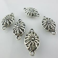 8/60pcs Tibetan Silver Hollow Flower Connectors Bails Charm Beads Jewelry Making