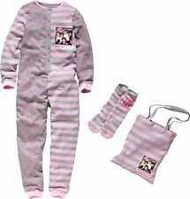 1D One Direction Sleepover Set Pink/Grey Onesie Slipper Socks Bag - New