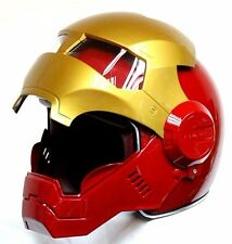 Iron Man 3/4 Open Face Red Gold Motorcycle Biker Helmet DOT Avengers S M L XL