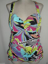 NWT Lane Bryant Ruched Halter One Piece Swimsuit Black Printed Retro Retail $119