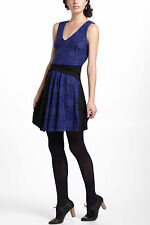 Anthropologie Colorblock Lace Mini Dress S, L, Black & Blue V-Neck By Leifnotes