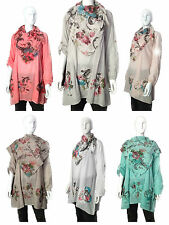 New Ladies Womens Loose Cotton Top Dress With Lovely Floral Scarf Design Boho