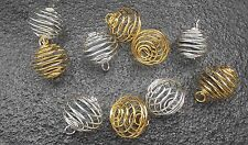 5 x Gold 5 x Silver Plated Large Spiral Cage 25mm Crystal Gemstone Caged Pendant