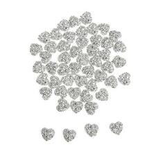50pcs Flatback Resin Rhinestone Heart Beads Stone for DIY Decor Scrapbook 12mm