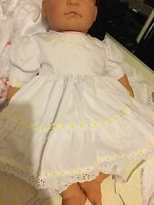 Designer Baby Girl White Yellow Lace Party Dress & Bloomers Newborn 0-3 3-6 Mths