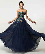 Size 2-24W Peacock Formal Ball Gown Evening Prom Party Bridesmaid Long Dress New