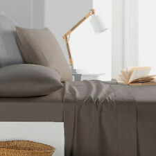 1000TC Egyptian Cotton 1pc  FITTED SHEET Sateen Solid Dark Taupe