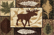 Moose Collage Hearth Rug | Fire Resistant Rugs | Cabin Fireplace Rugs