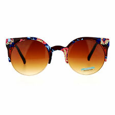 Floral Print Sunglasses Womens Round Circle Wing Top Frame Shades