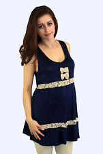 Royal Blue Khaki Beige Maternity Blouse Casual Sleeveless Lace Top S M L XL